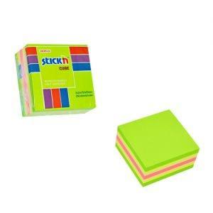cub autoadeziv 51x51 mm stickn 4 culori asortate galben pal galben verde roz 250 filebuc 9235