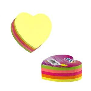cub autoadeziv inima 64x67 mm stickn 5 culori neon 250 filebuc 9250