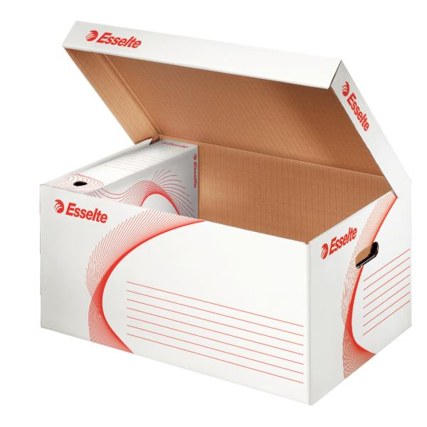 container pt arhivare esselte din carton alb cu capac 560x265x380 mm 9756