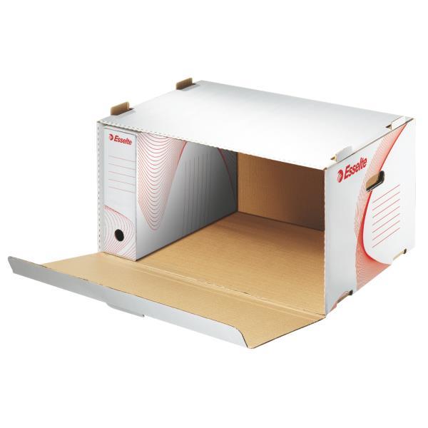 container pt arhivare esselte din carton alb cu deschidere frontala 535x265x370 mm 9757