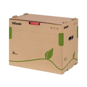 container pt arhivare esselte eco din carton natur capacitate 5 bibliorafturi 75mm 9758