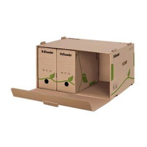 container pt arhivare esselte eco din carton natur cu deschidere frontala 439x259x340 mm 9760
