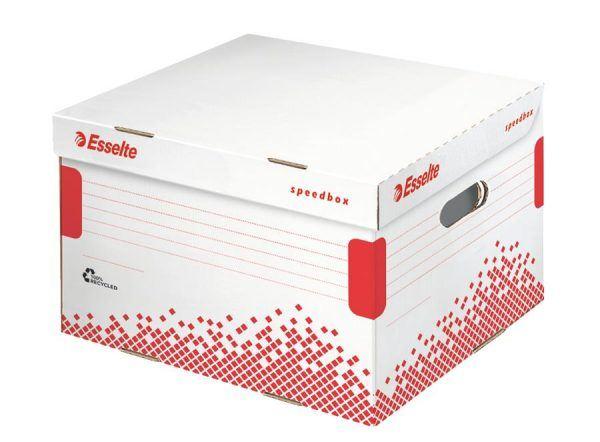 container pt arhivare esselte speedbox l din carton alb cu capac 433x263x433 mm 9762