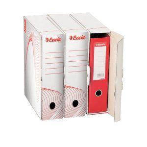 cutie de arhivare din carton alb pt bibliorafturi esselte 300x97x355 mm 9777