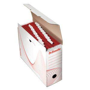 cutie de arhivare din carton alb pt dosare suspendate esselte 285x117x337 mm 9778
