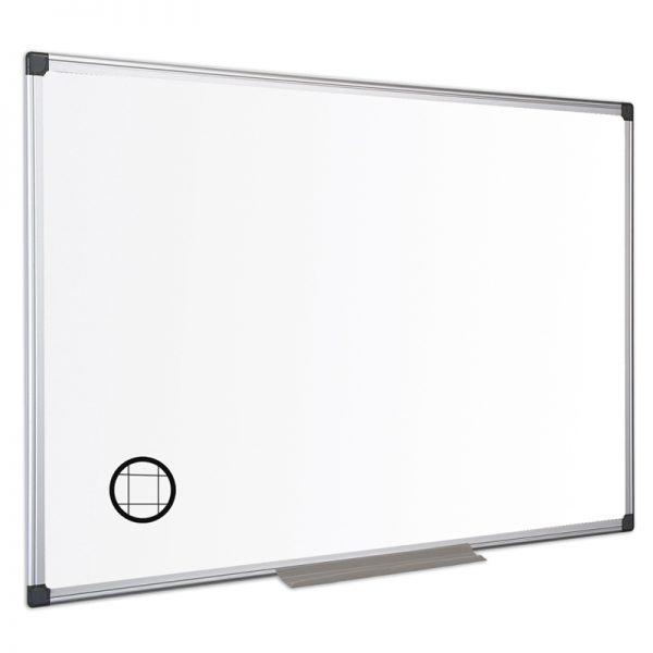tabla nemagnetica cu patratele fine 25 cm si rama din aluminiu bi office 120x240 cm 9205