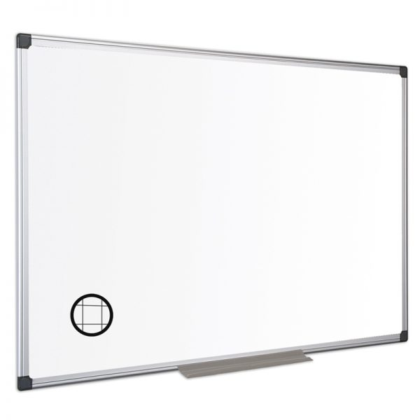tabla nemagnetica cu patratele fine 25 cm si rama din aluminiu bi office 100x150 cm 9203