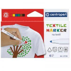 marker centropen 2739 textil varf rotund 6 culoriset 8433