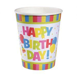 pahar carton 25 l set 10 bucati motiv happy birthday rainbow 7791